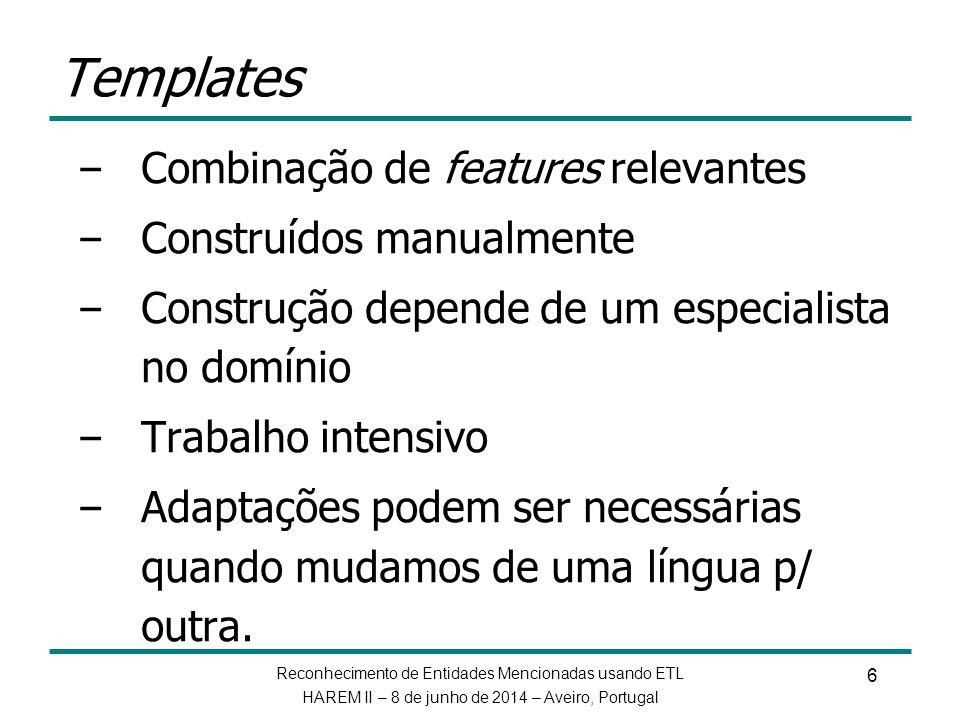 Templates Combinação de features relevantes Construídos manualmente
