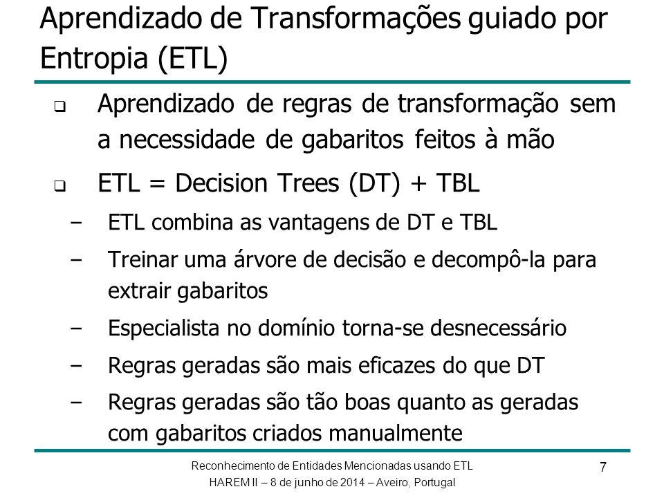 Aprendizado de Transformações guiado por Entropia (ETL)