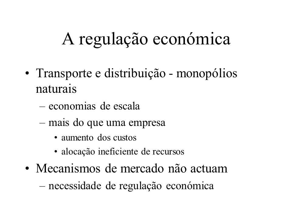 A regulação económica Transporte e distribuição - monopólios naturais