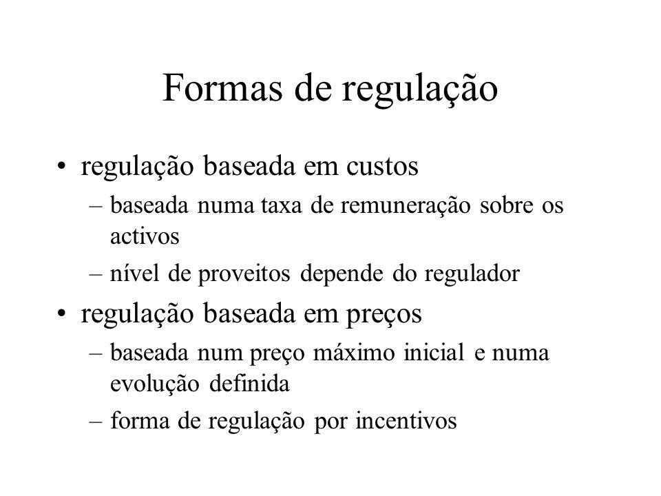 Formas de regulação regulação baseada em custos