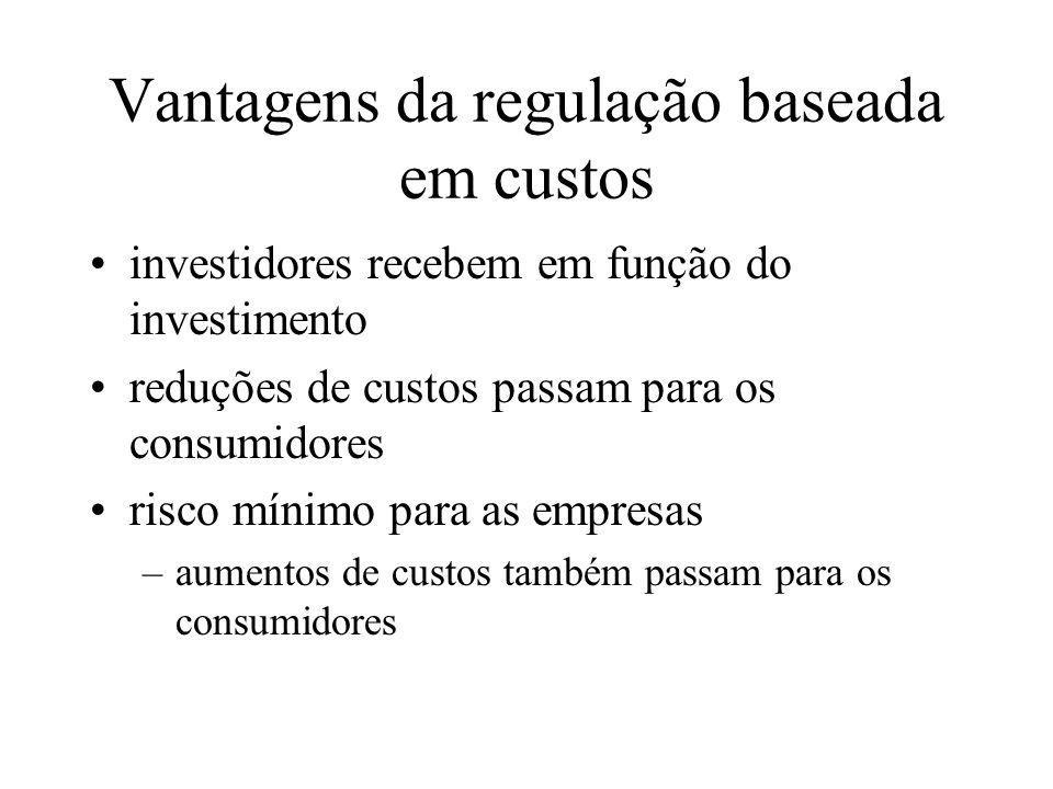 Vantagens da regulação baseada em custos