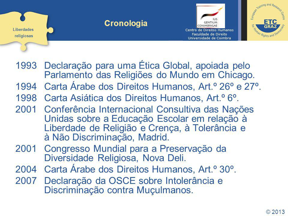 1994 Carta Árabe dos Direitos Humanos, Art.º 26º e 27º.