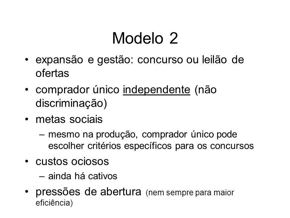 Modelo 2 expansão e gestão: concurso ou leilão de ofertas