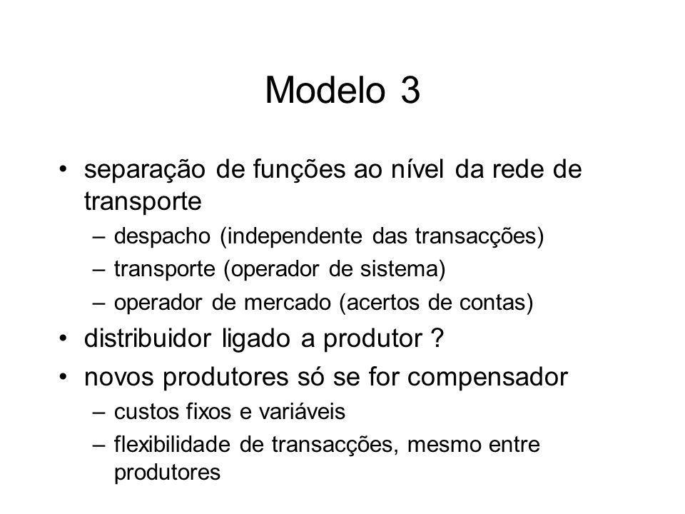 Modelo 3 separação de funções ao nível da rede de transporte