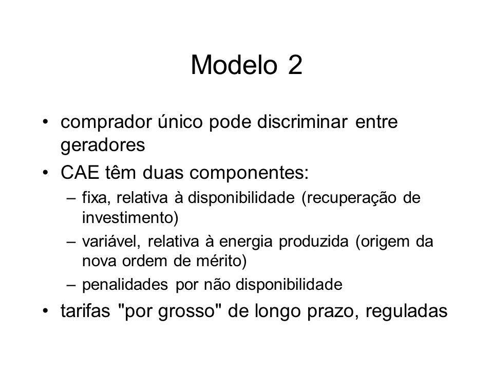 Modelo 2 comprador único pode discriminar entre geradores