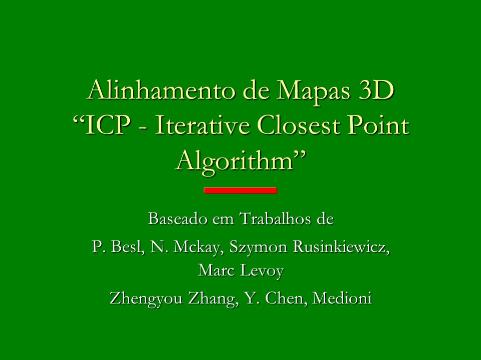 Alinhamento de Mapas 3D ICP - Iterative Closest Point Algorithm