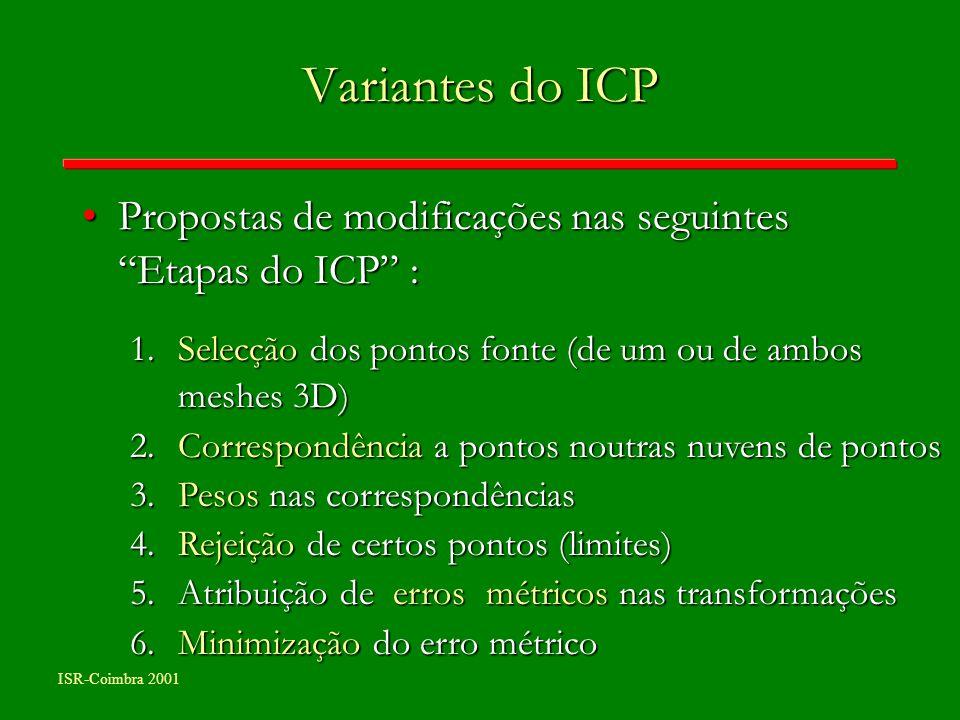 Variantes do ICP Propostas de modificações nas seguintes Etapas do ICP : Selecção dos pontos fonte (de um ou de ambos meshes 3D)