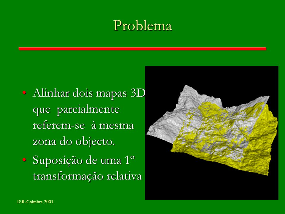 Problema Alinhar dois mapas 3D que parcialmente referem-se à mesma zona do objecto.