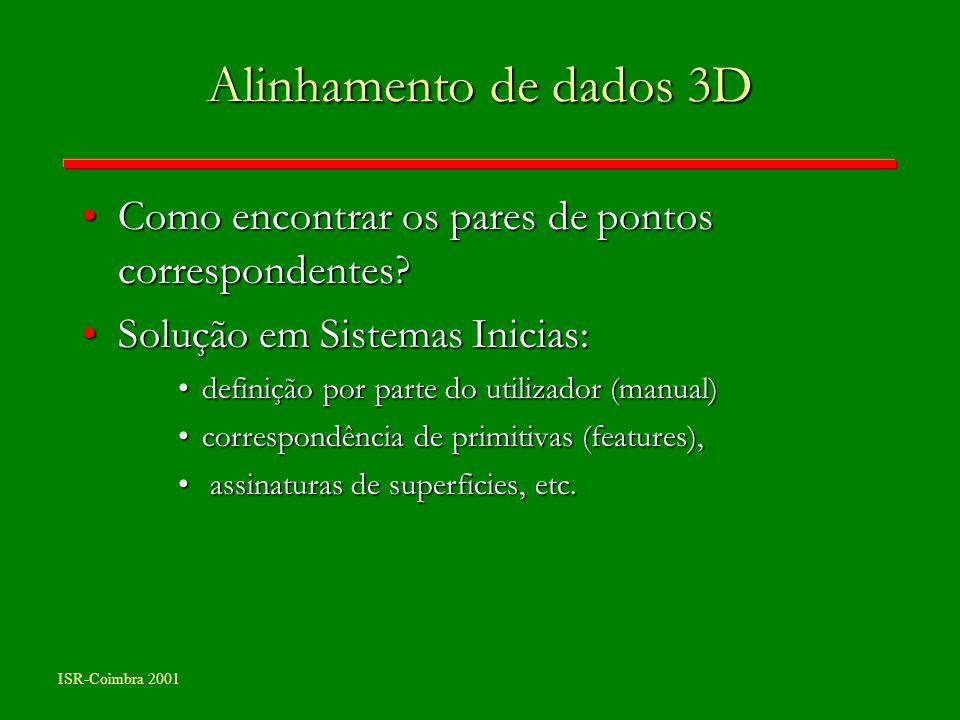 Alinhamento de dados 3D Como encontrar os pares de pontos correspondentes Solução em Sistemas Inicias: