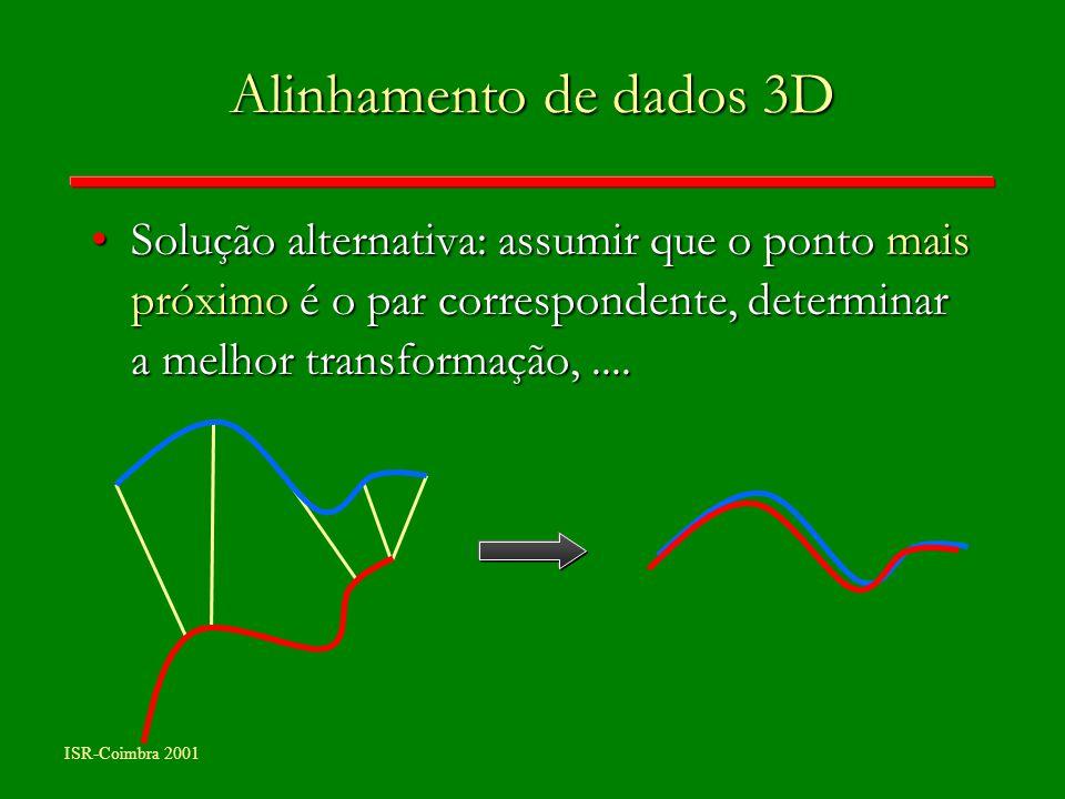 Alinhamento de dados 3D Solução alternativa: assumir que o ponto mais próximo é o par correspondente, determinar a melhor transformação, ....