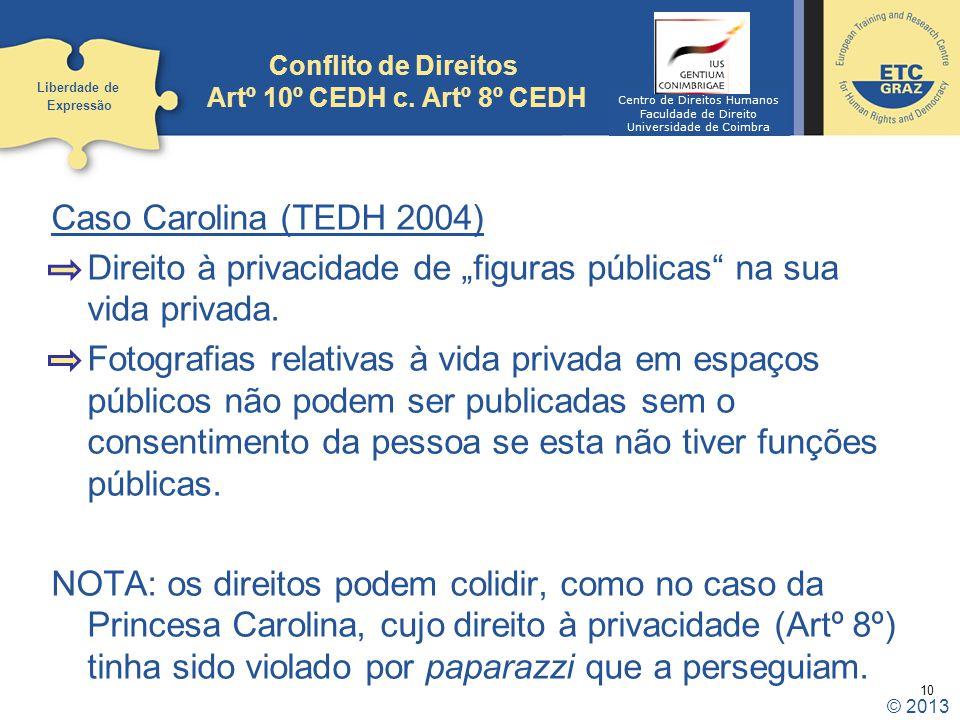 Conflito de Direitos Artº 10º CEDH c. Artº 8º CEDH