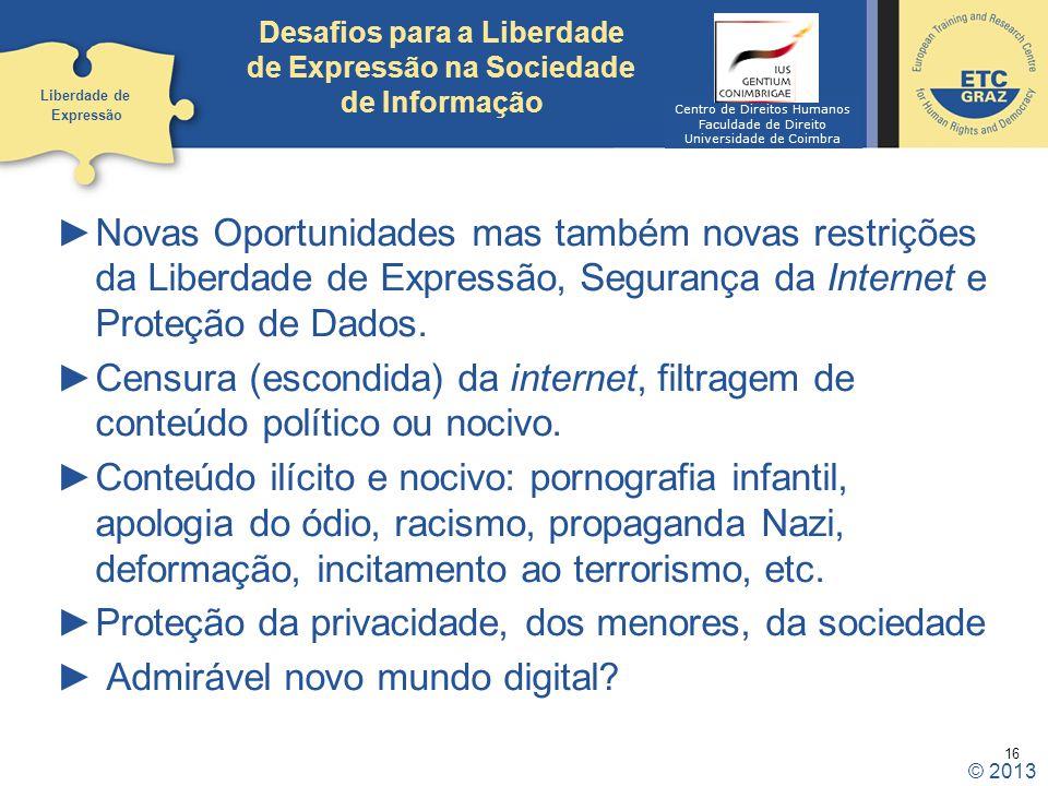 Desafios para a Liberdade de Expressão na Sociedade de Informação
