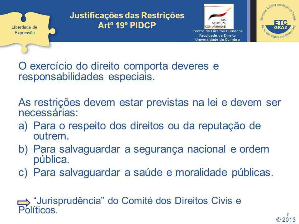 Justificações das Restrições Artº 19º PIDCP
