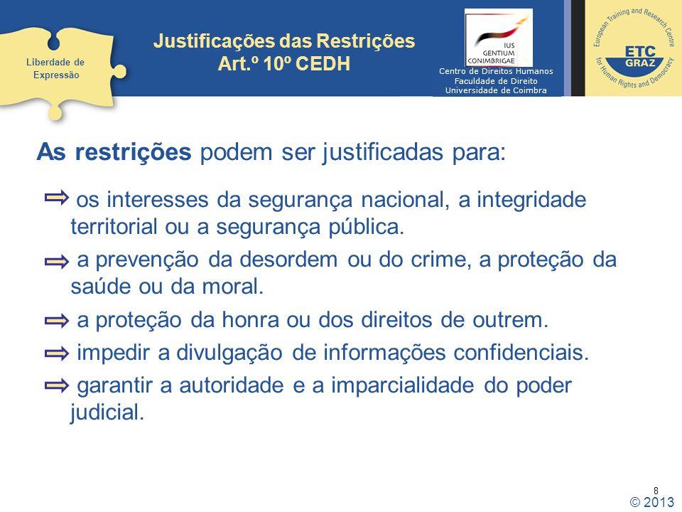 Justificações das Restrições Art.º 10º CEDH