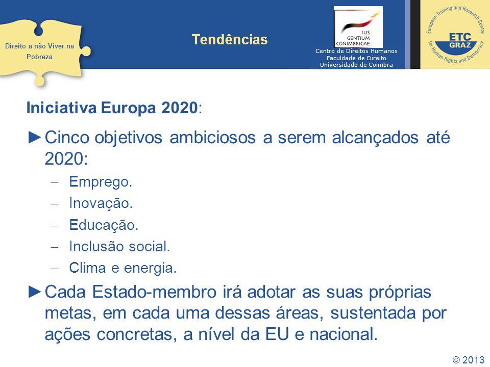 Cinco objetivos ambiciosos a serem alcançados até 2020: