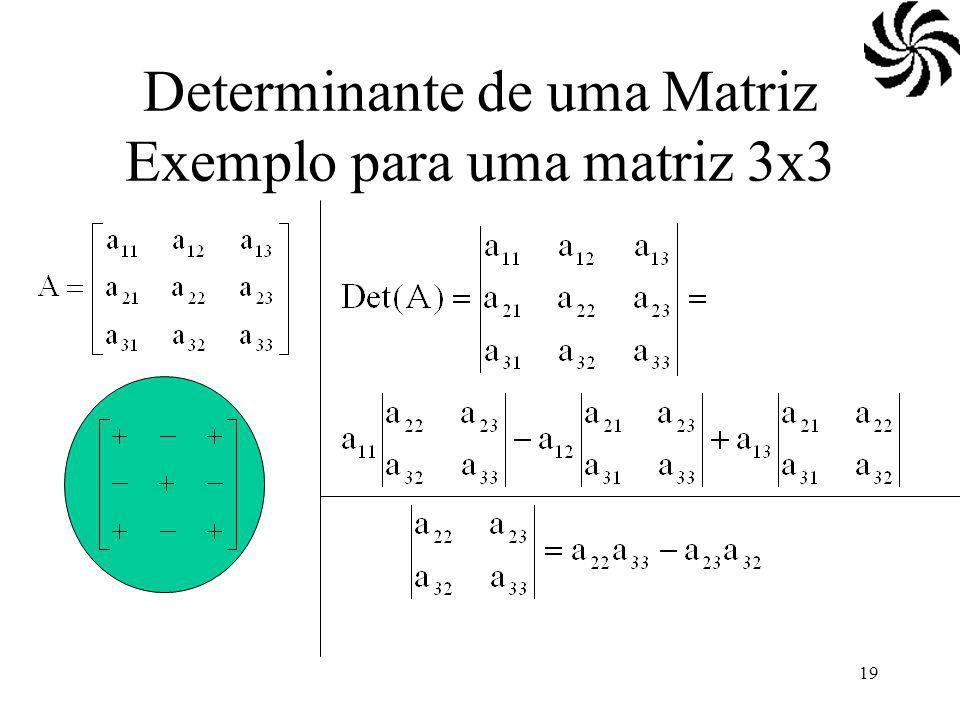 Determinante de uma Matriz Exemplo para uma matriz 3x3