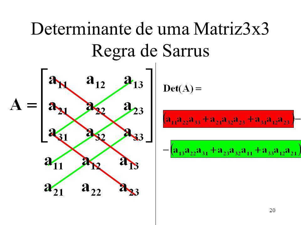 Determinante de uma Matriz3x3 Regra de Sarrus