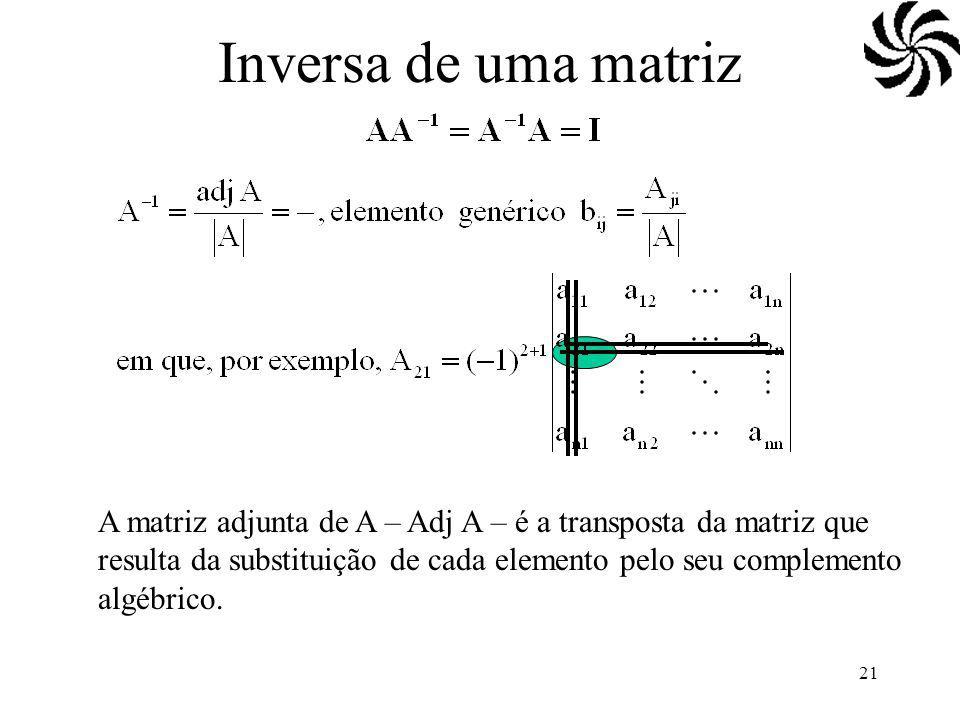 Inversa de uma matriz (AB)-1=B-1A-1. (A-1)'=(A')-1.