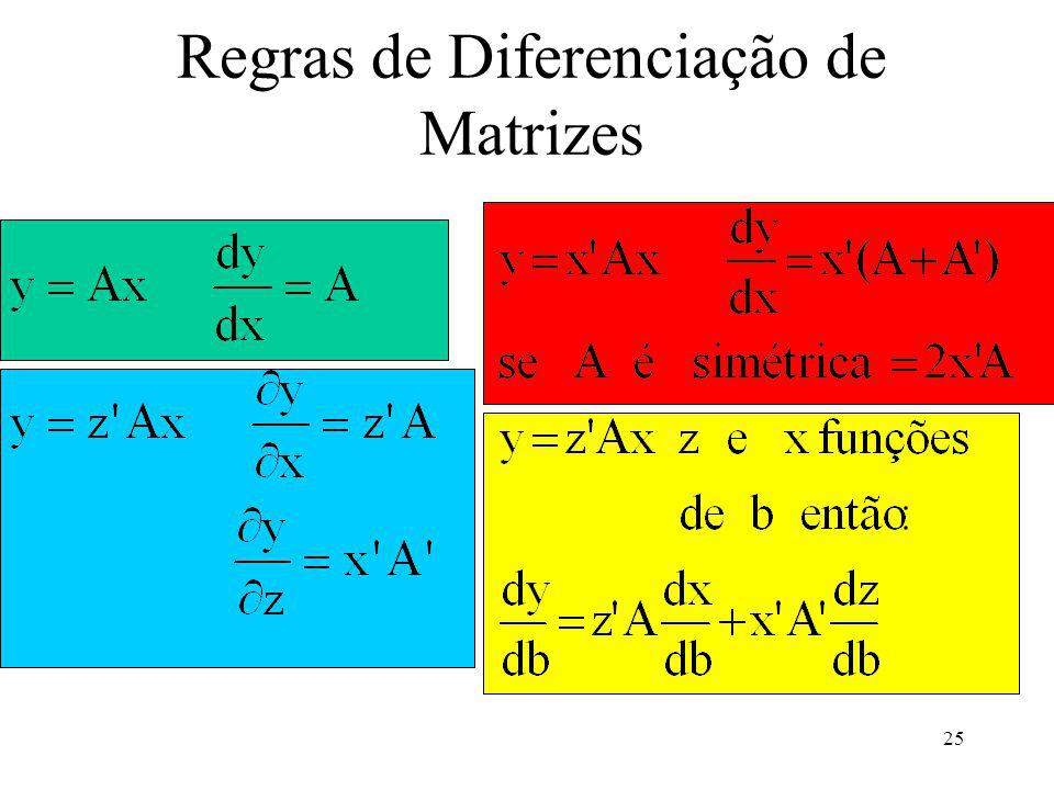 Regras de Diferenciação de Matrizes