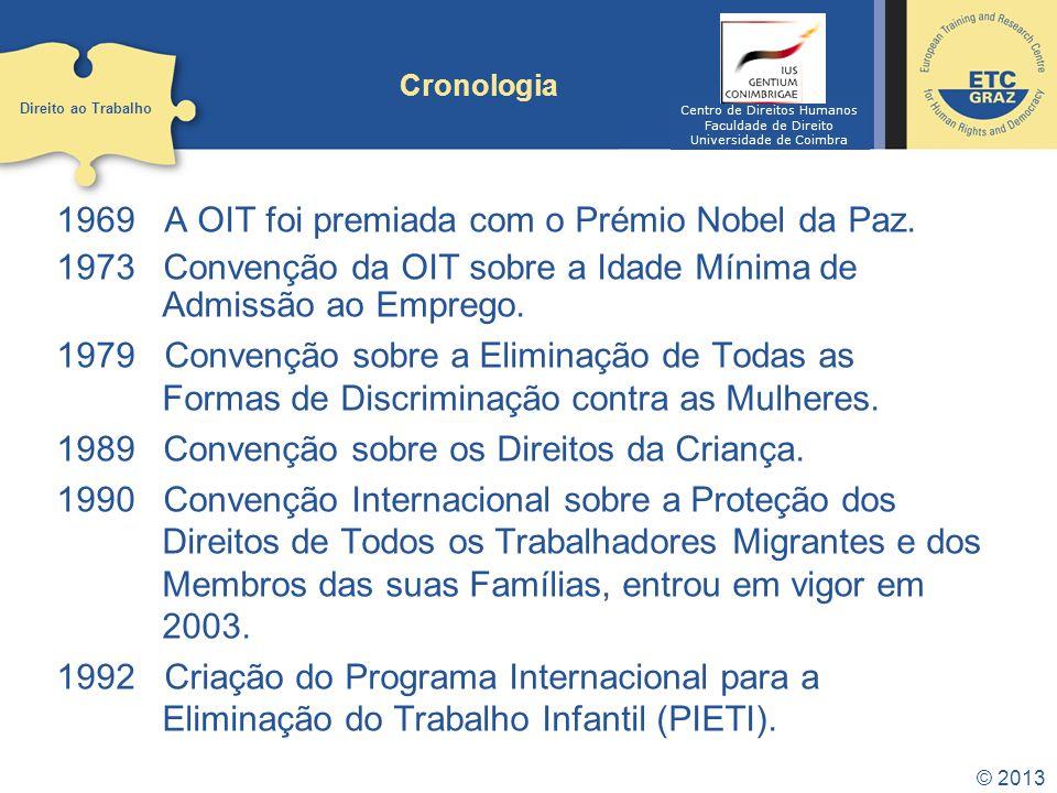 1969 A OIT foi premiada com o Prémio Nobel da Paz.