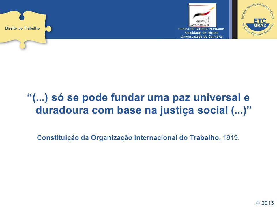 Direito ao Trabalho Centro de Direitos Humanos. Faculdade de Direito. Universidade de Coimbra.