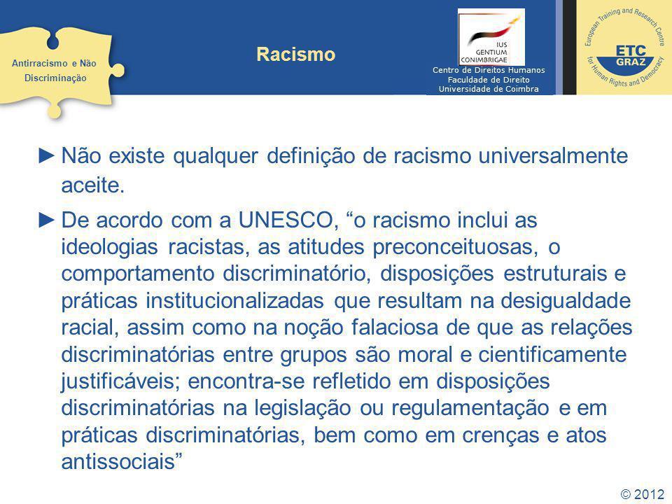 Não existe qualquer definição de racismo universalmente aceite.
