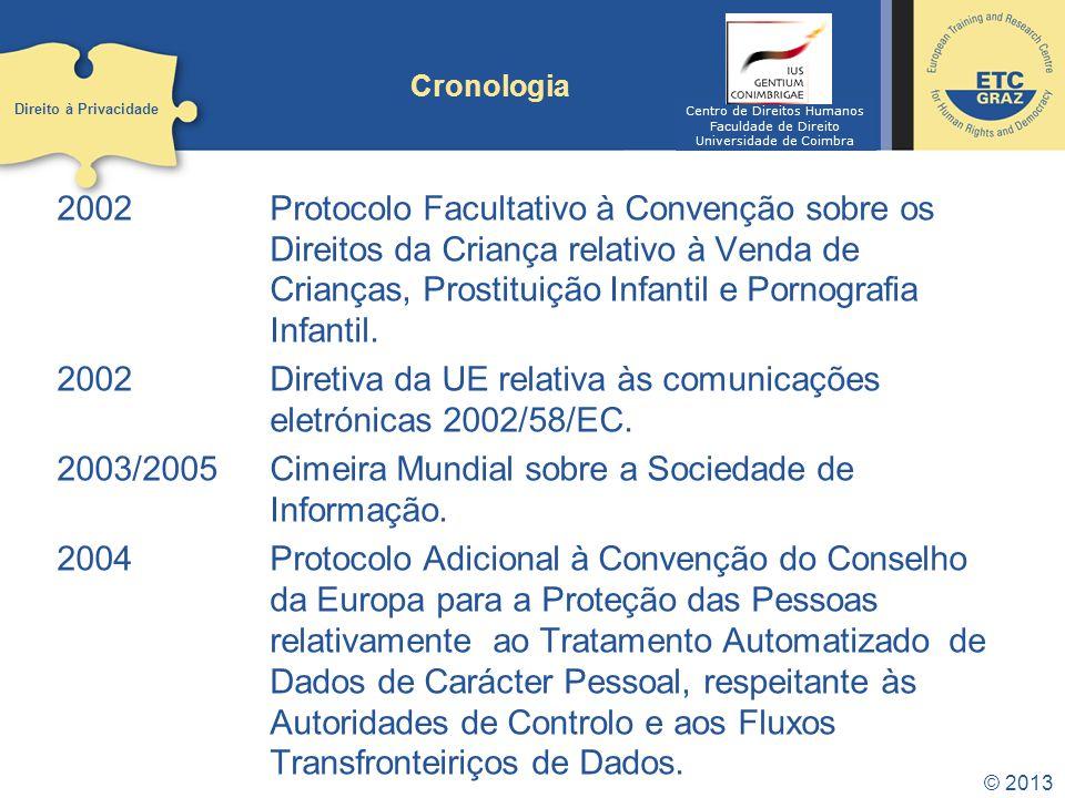 2002 Diretiva da UE relativa às comunicações eletrónicas 2002/58/EC.
