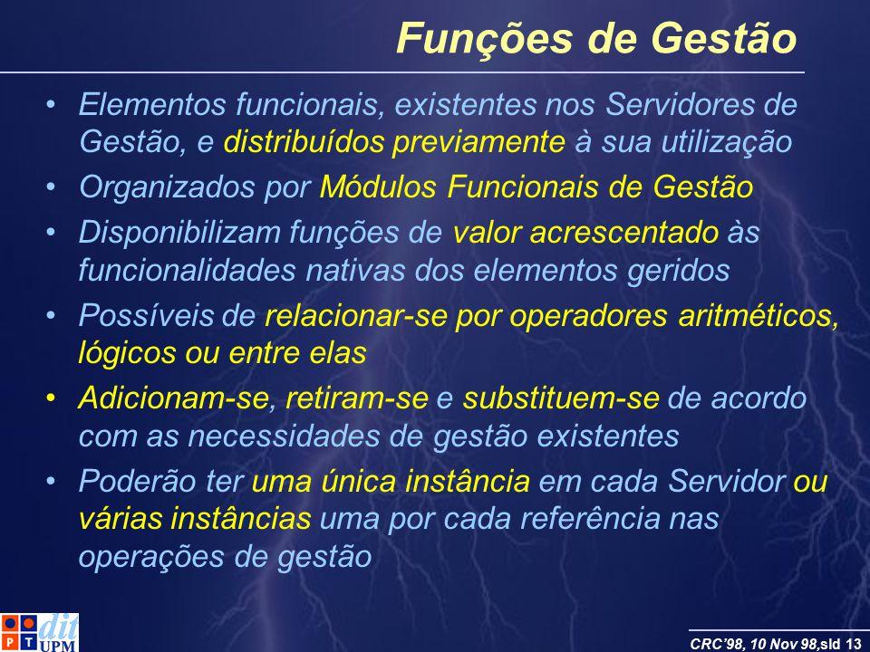 Funções de Gestão Elementos funcionais, existentes nos Servidores de Gestão, e distribuídos previamente à sua utilização.