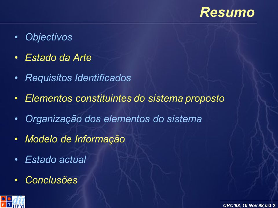 Resumo Objectivos Estado da Arte Requisitos Identificados