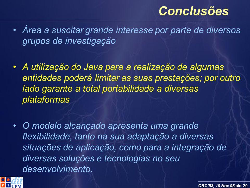 Conclusões Área a suscitar grande interesse por parte de diversos grupos de investigação.