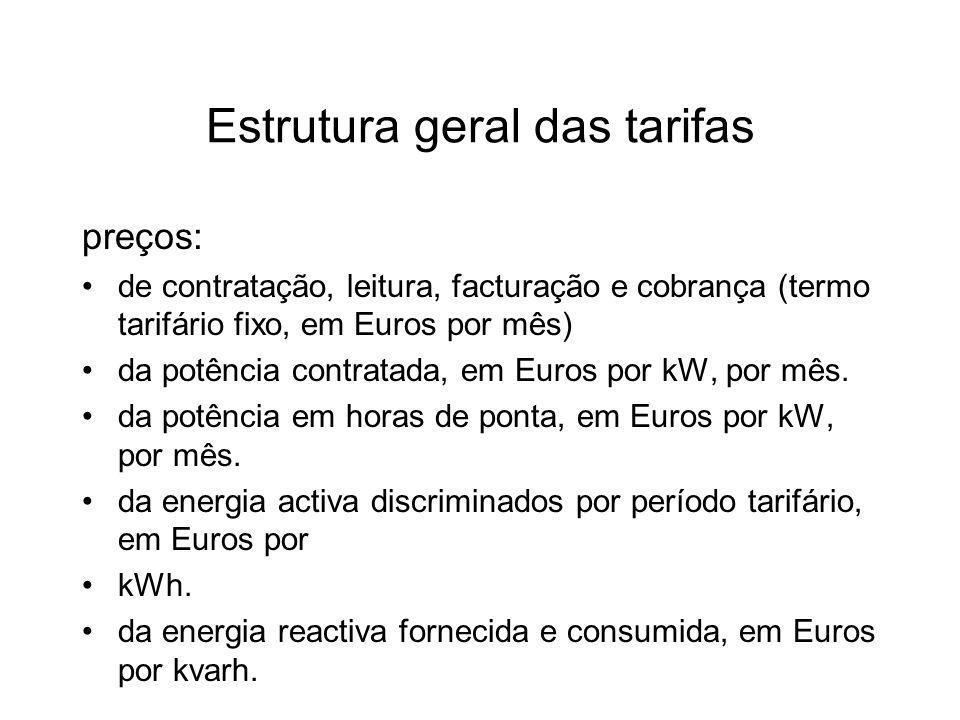 Estrutura geral das tarifas