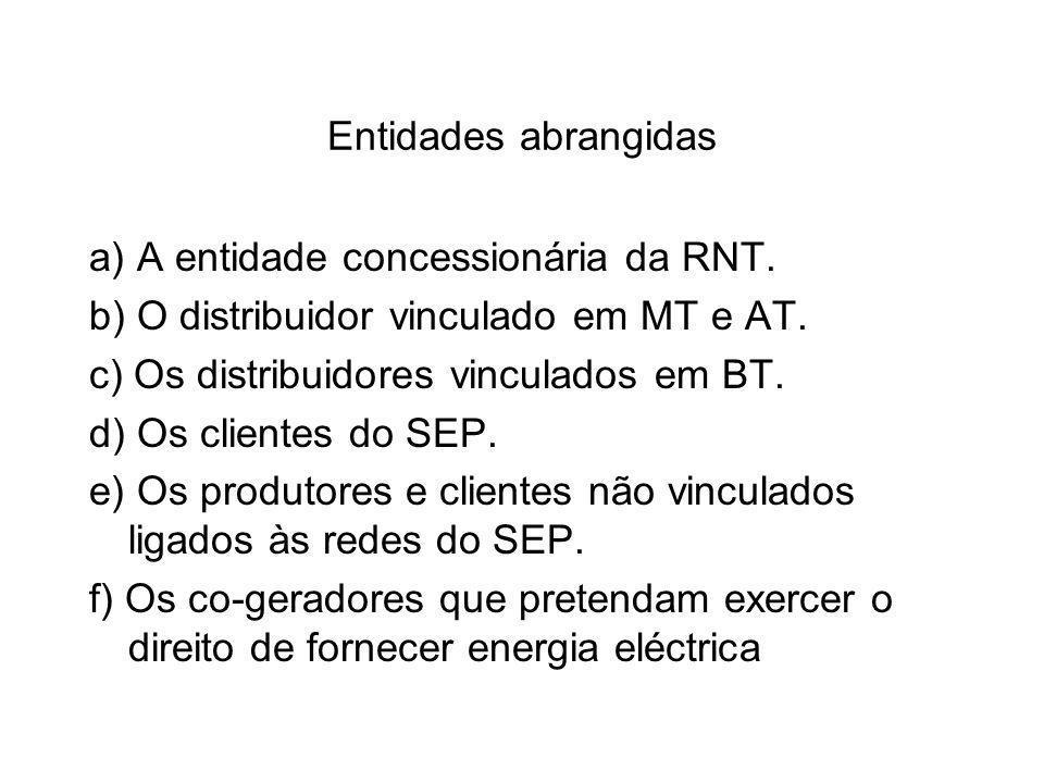 Entidades abrangidas a) A entidade concessionária da RNT. b) O distribuidor vinculado em MT e AT. c) Os distribuidores vinculados em BT.