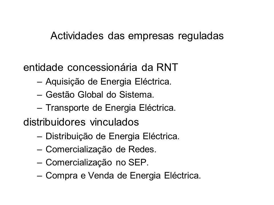 Actividades das empresas reguladas