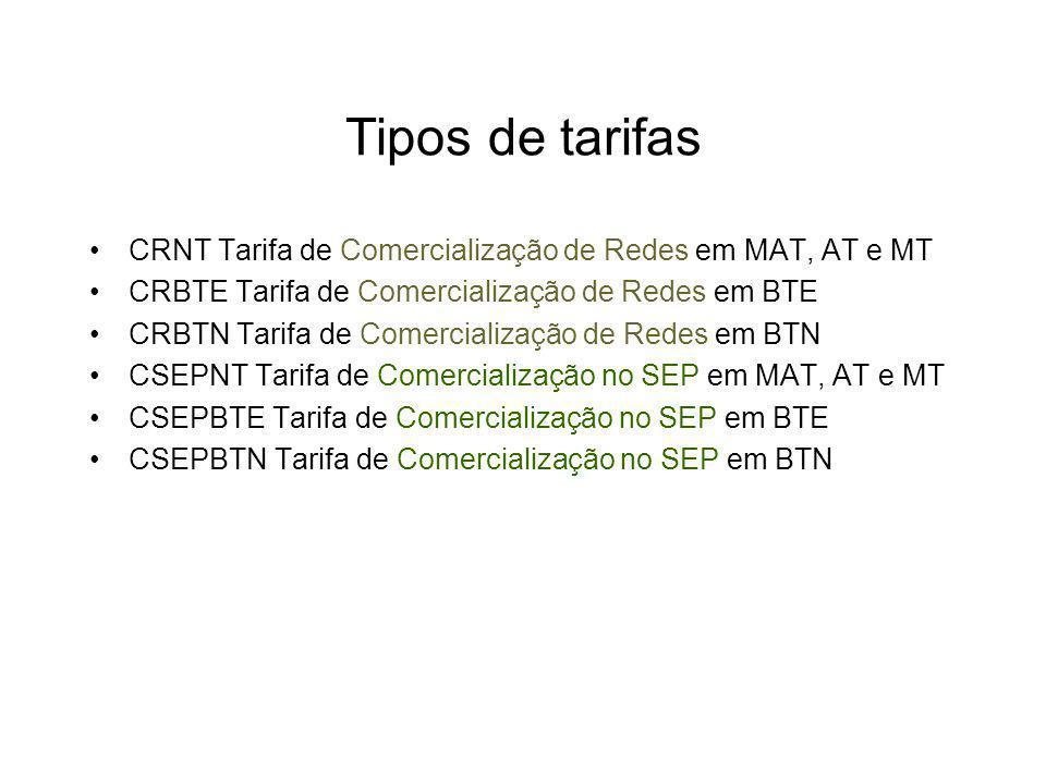 Tipos de tarifas CRNT Tarifa de Comercialização de Redes em MAT, AT e MT. CRBTE Tarifa de Comercialização de Redes em BTE.