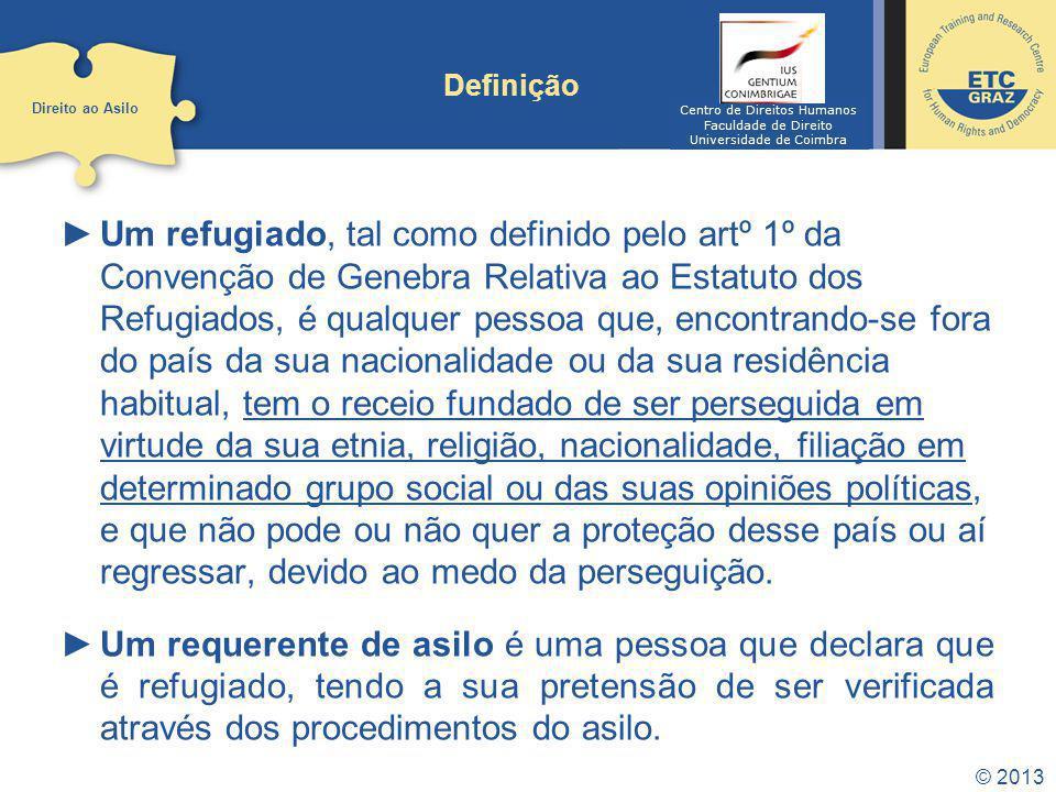Definição Direito ao Asilo. Centro de Direitos Humanos. Faculdade de Direito. Universidade de Coimbra.