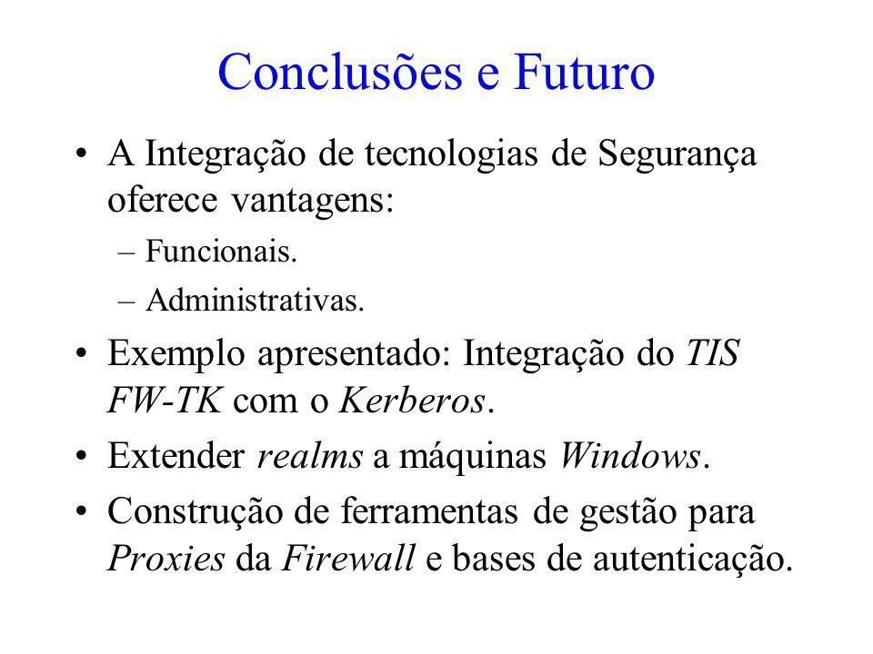 Conclusões e Futuro A Integração de tecnologias de Segurança oferece vantagens: Funcionais. Administrativas.