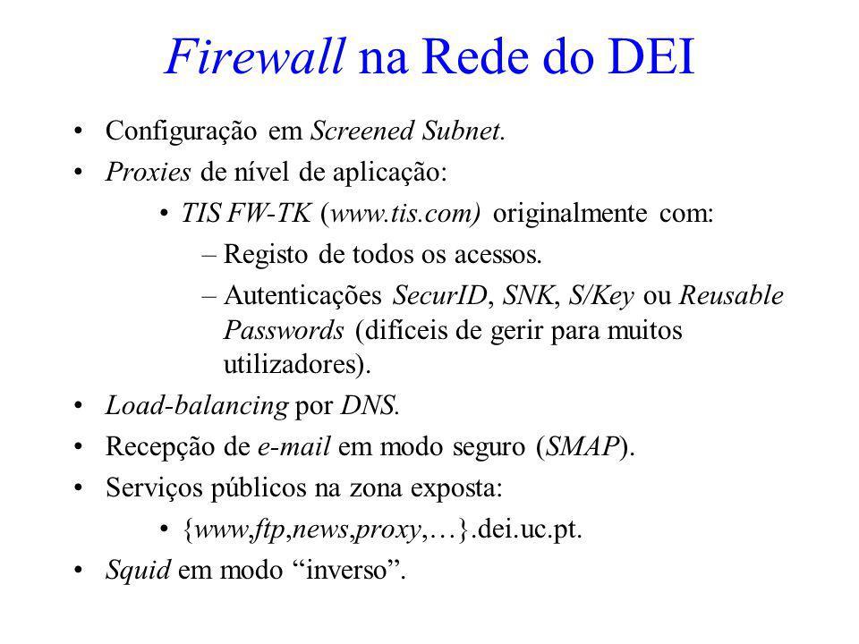 Firewall na Rede do DEI Configuração em Screened Subnet.