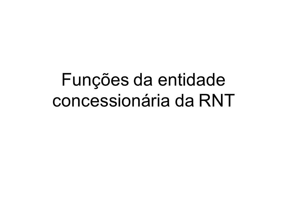 Funções da entidade concessionária da RNT