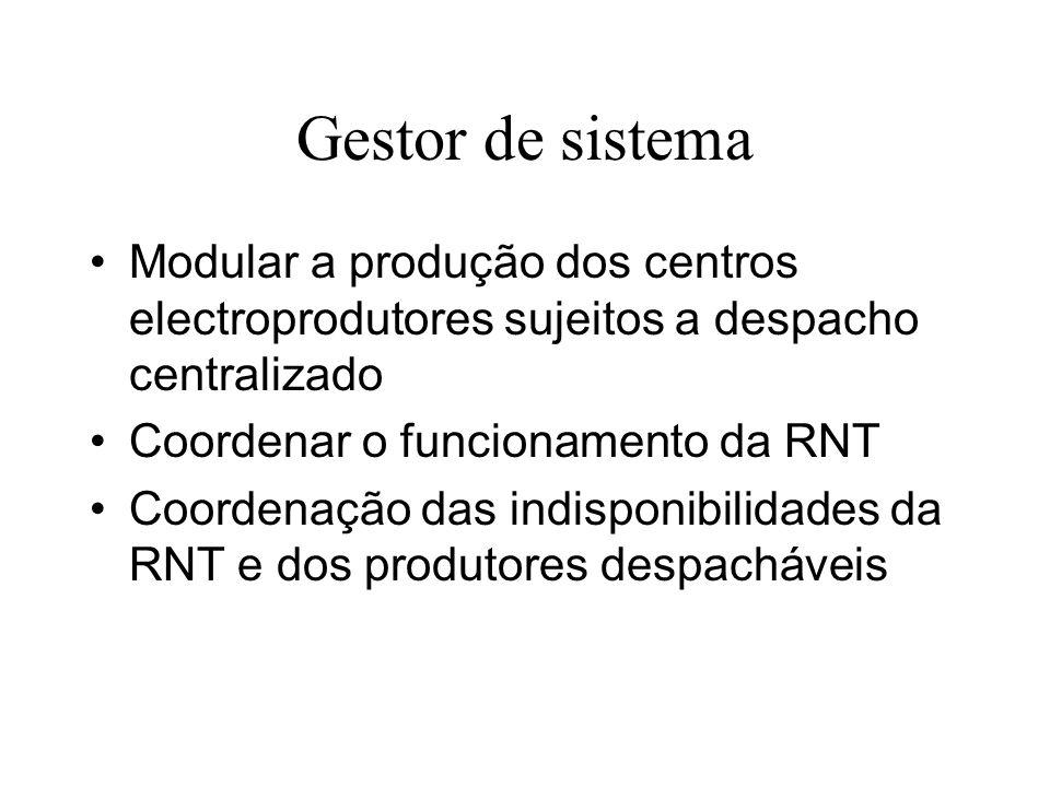 Gestor de sistema Modular a produção dos centros electroprodutores sujeitos a despacho centralizado.