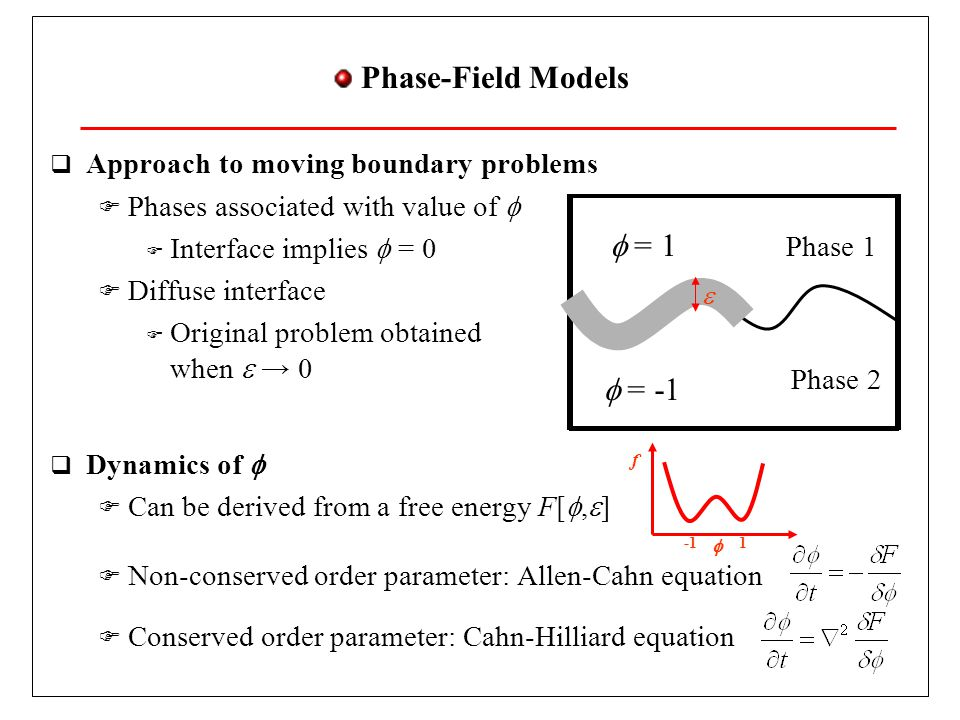 Phase-Field Models = 1 = -1 Approach to moving boundary problems