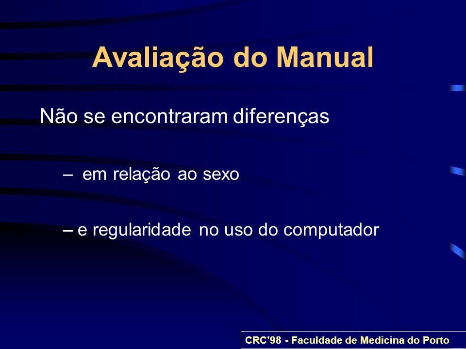 Avaliação do Manual Não se encontraram diferenças em relação ao sexo