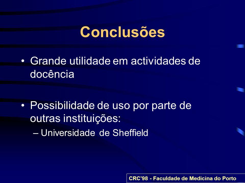 Conclusões Grande utilidade em actividades de docência