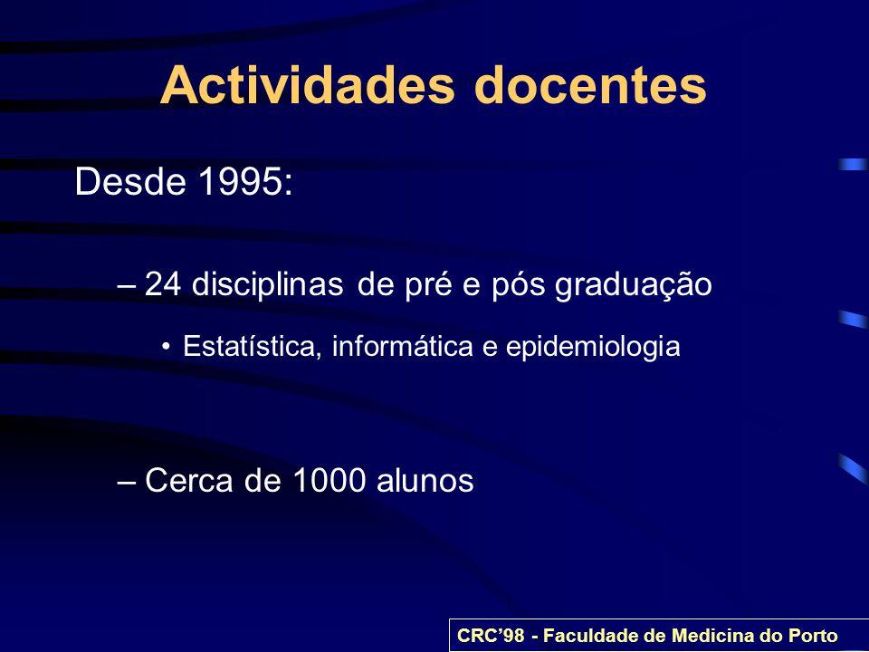 Actividades docentes Desde 1995: 24 disciplinas de pré e pós graduação