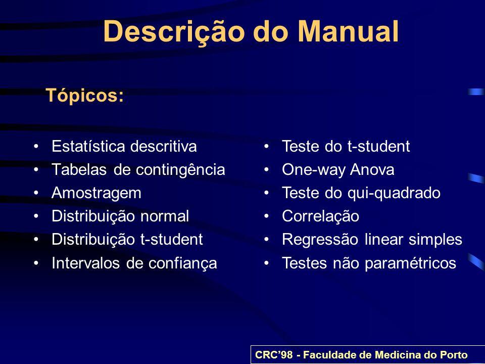 Descrição do Manual Tópicos: Estatística descritiva