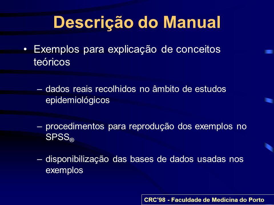 Descrição do Manual Exemplos para explicação de conceitos teóricos