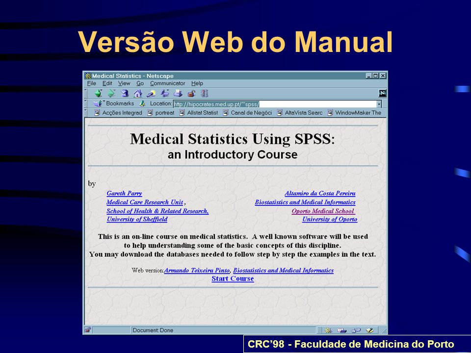 Versão Web do Manual CRC'98 - Faculdade de Medicina do Porto