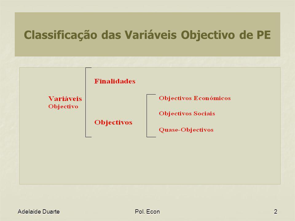 Classificação das Variáveis Objectivo de PE