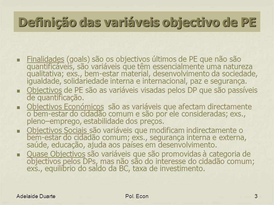 Definição das variáveis objectivo de PE