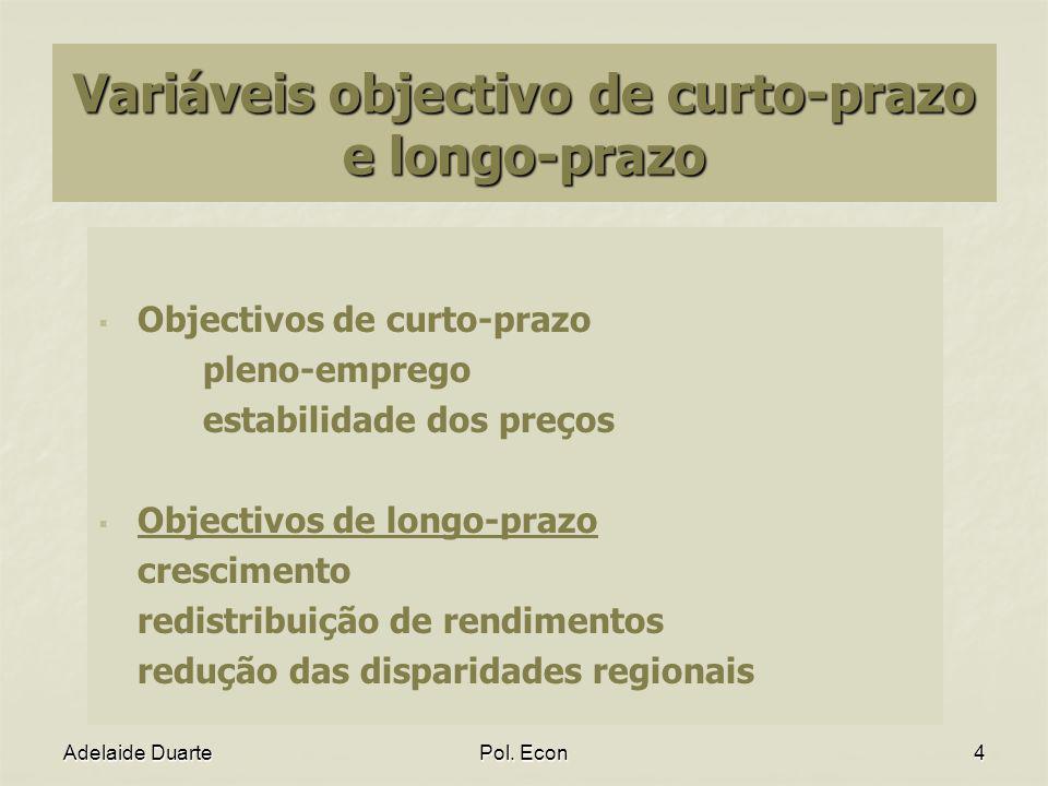 Variáveis objectivo de curto-prazo e longo-prazo