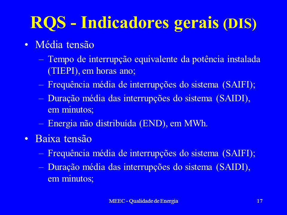 RQS - Indicadores gerais (DIS)